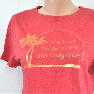 ⬇️ Drug Free Tshirt Tee Metallic Gold Red Island